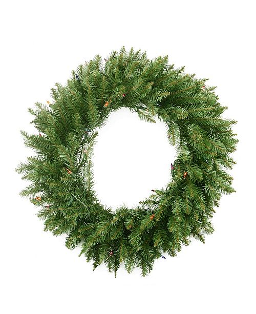 """Northlight 36"""" Pre-Lit Northern Pine Artificial Christmas Wreath - Multi-Color Lights"""