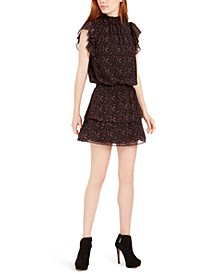 Smocked Ruffled Mini Dress