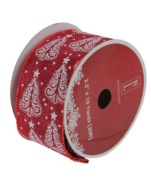 """Northlight Pack of 12 Cranberry Red and White Trees Burlap Wired Christmas Craft Ribbon Spools - 2.5"""" x 120 Yards Total"""