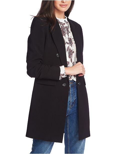 1.STATE Ruched-Sleeve Duster Blazer