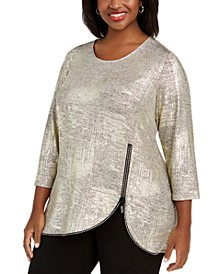 Plus Size Metallic Rhinestone Zipper Top, Created For Macy's