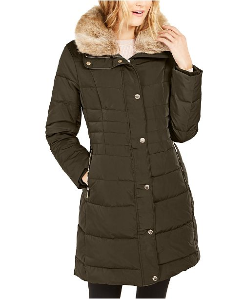Michael Kors Hooded Down Puffer Coat With Faux-Fur Trim