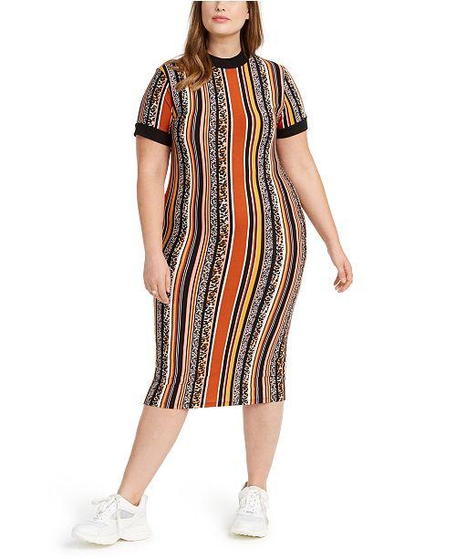 Trendy Plus Size Juniors\' Geo-Print Dress