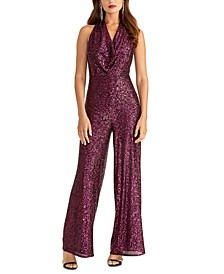 Kelly Sequined Cowlneck Jumpsuit
