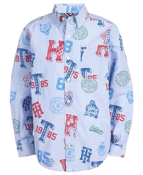 Tommy Hilfiger Toddler Boys Collegiate Logo-Print Shirt