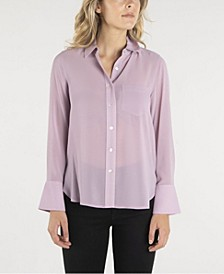 Long Sleeve Button Down Shirt with Wide Cuffs