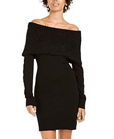 Juniors' Off-The-Shoulder Foldover Sweater Dress