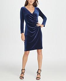 Velvet Side Ruche Sheath Dress