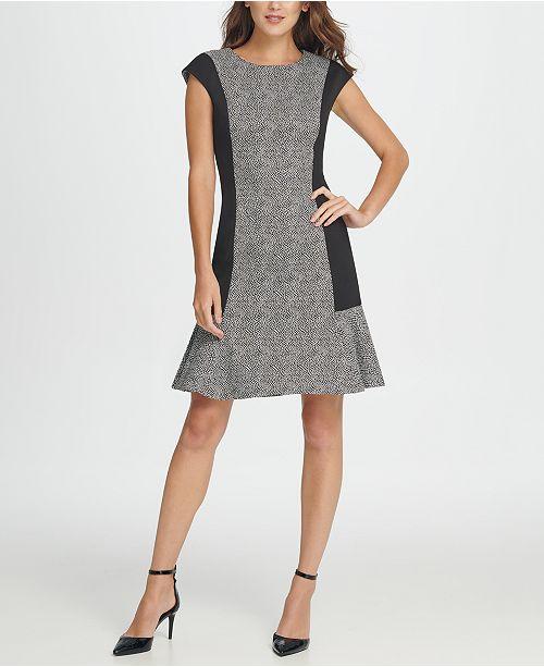 DKNY Colorblock Millenium Flounce Shift Dress