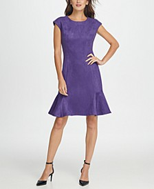 Faux-Suede Flounce Shift Dress