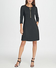 Ponte and Leather Combo Zipper Fit & Flare Dress