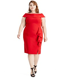 Plus Size Off-The-Shoulder Sheath Dress