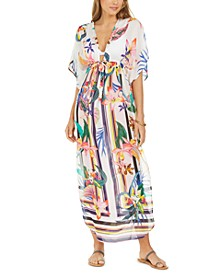 Treasure Cove Printed Maxi Caftan Cover-Up