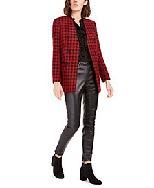 Houndstooth-Print Jacket, Ruffled Top & Faux-Leather Skinny Pants, Created for Macy's