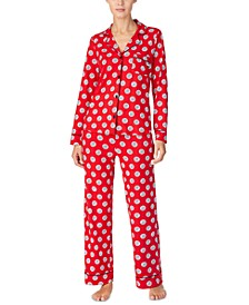 Women's Printed Jersey Shirt & Pants Pajamas Set