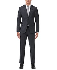 Men's Slim-Fit Dark Gray Windowpane Suit Separates