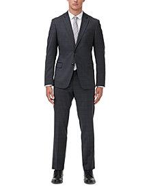 Armani Exchange Men's Modern-Fit Dark Gray Windowpane Suit Separates
