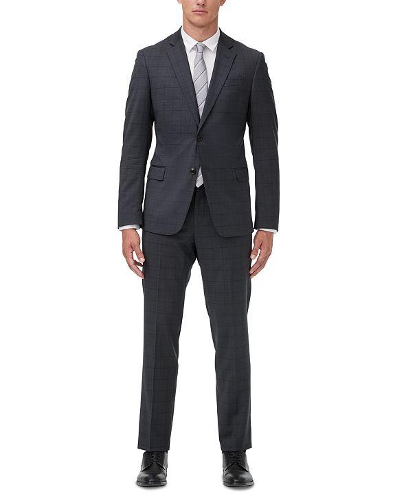 A X Armani Exchange Armani Exchange Men's Modern-Fit Dark Gray Windowpane Suit Separates