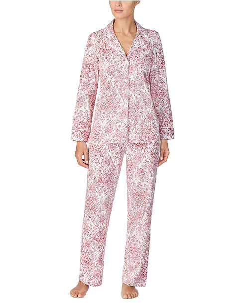 Lauren Ralph Lauren Cotton Knit Shirt & Pants Pajamas Set