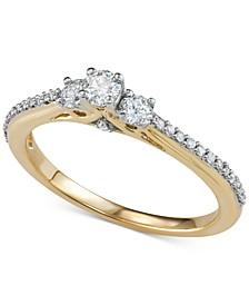 Diamond Three-Stone Engagement Ring (3/8 ct. t.w.) in 14k Gold
