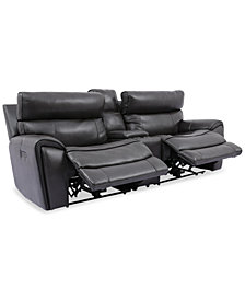 Hutchenson 3-Pc. Leather Sectional with 2 Power Recliners, Power Headrests, and Console