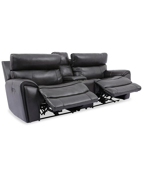 Furniture Hutchenson 3-Pc. Leather Sectional with 2 Power Recliners, Power Headrests, and Console