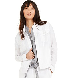 Petite Linen Frayed-Edge Jacket, Created for Macy's