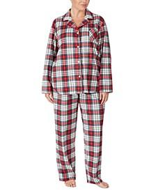 Plus Size Flannel Shirt & Pants Pajamas Set