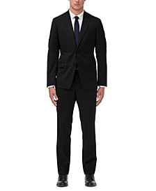 Men's Modern-Fit Black Solid Suit Separates