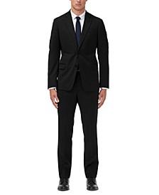 Men's Slim-Fit Black Solid Suit Separates