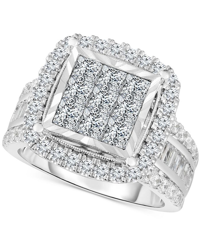 TruMiracle - Diamond Halo Cluster Engagement Ring (3 ct. t.w.) in 10k White Gold