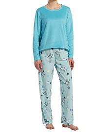 Sueded Fleece Top & Printed Pants Pajama Set