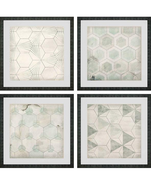 """Paragon Hexagon Tiles Framed Wall Art Set of 4, 21"""" x 21"""""""