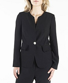 Long Sleeve Single Breasted Blazer with Ruffled Flap Pockets