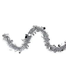 50' Traditional Silver Christmas Tinsel Garland with Shiny Polka Dots - Unlit