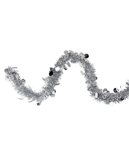Northlight 50' Traditional Silver-Tone Christmas Tinsel Garland with Shiny Polka Dots - Unlit