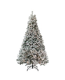 7.5' Pre-Lit Heavily Flocked Medium Pine Artificial Christmas Tree - Clear Lights
