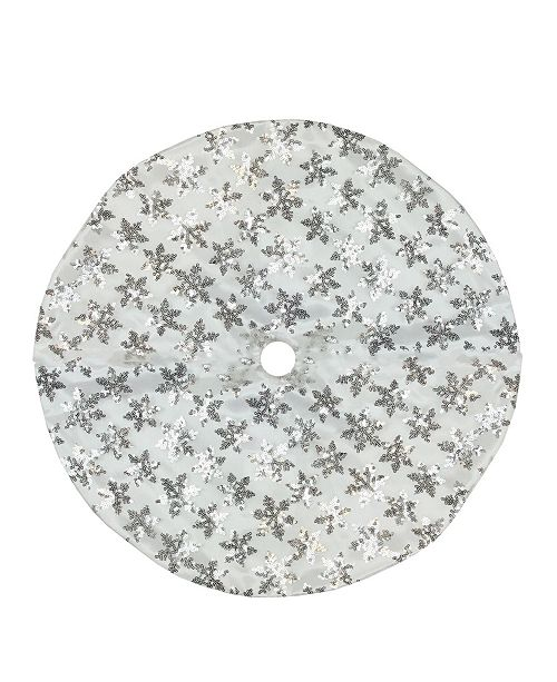 "Northlight 20"" White and Silver Sequin Snowflake Pattern Mini Christmas Tree Skirt"