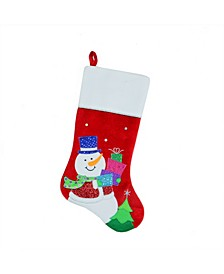 """20.5"""" Red and White Embroidered and Embellished Snowman with Glitter Presents Christmas Stocking"""