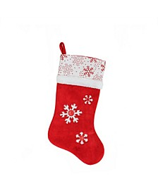 """20.5"""" Country Cabin Red and White Button Snowflake Christmas Stocking with Glitter Accented Cuff"""