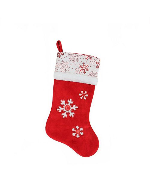 "Northlight 20.5"" Country Cabin Red and White Button Snowflake Christmas Stocking with Glitter Accented Cuff"
