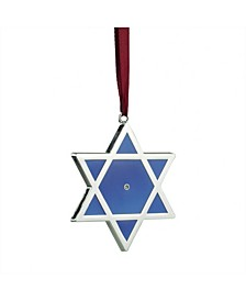 "3"" Shiny Silver-Plated Blue Star of David Hanukkah Ornament with European Crystal"