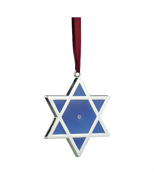 "Northlight 3"" Shiny Silver-Plated Blue Star of David Hanukkah Ornament with European Crystal"