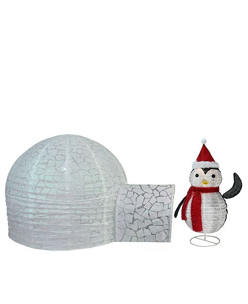 """Northlight Set of 2 Pre-Lit Penguin and Igloo Outdoor Christmas Outdoor Decoration 45"""""""