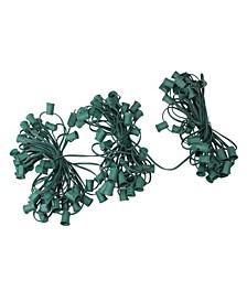 "100' Commercial C9 Christmas Light Socket Set - 12"" Spacing 18 Gauge Green Wire"