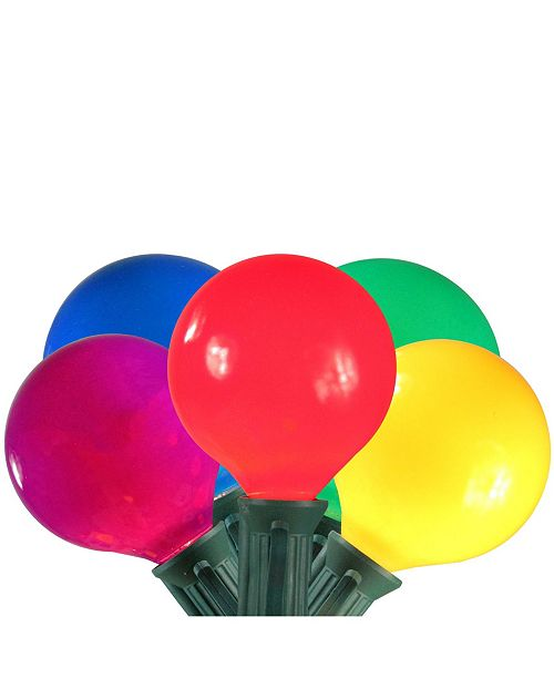 Northlight Set of 15 Multi-Color Satin G50 Globe Christmas Lights - 13.75 ft Green Wire