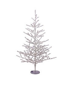 3' Pre-Lit Silver Tinsel Twig Artificial Christmas Tree - Clear LED Lights