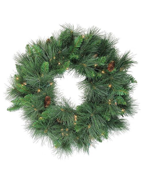 """Northlight 24"""" Pre-Lit White Valley Pine Artificial Christmas Wreath - Clear Lights"""