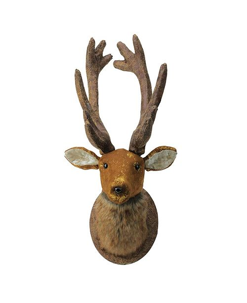 """Northlight 24"""" Brown and Gold Reindeer Head Christmas Wall Hanging"""