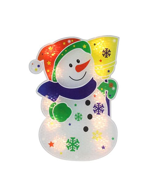 """Northlight 12.5"""" Lighted Holographic Snowman Christmas Window Silhouette Decoration"""